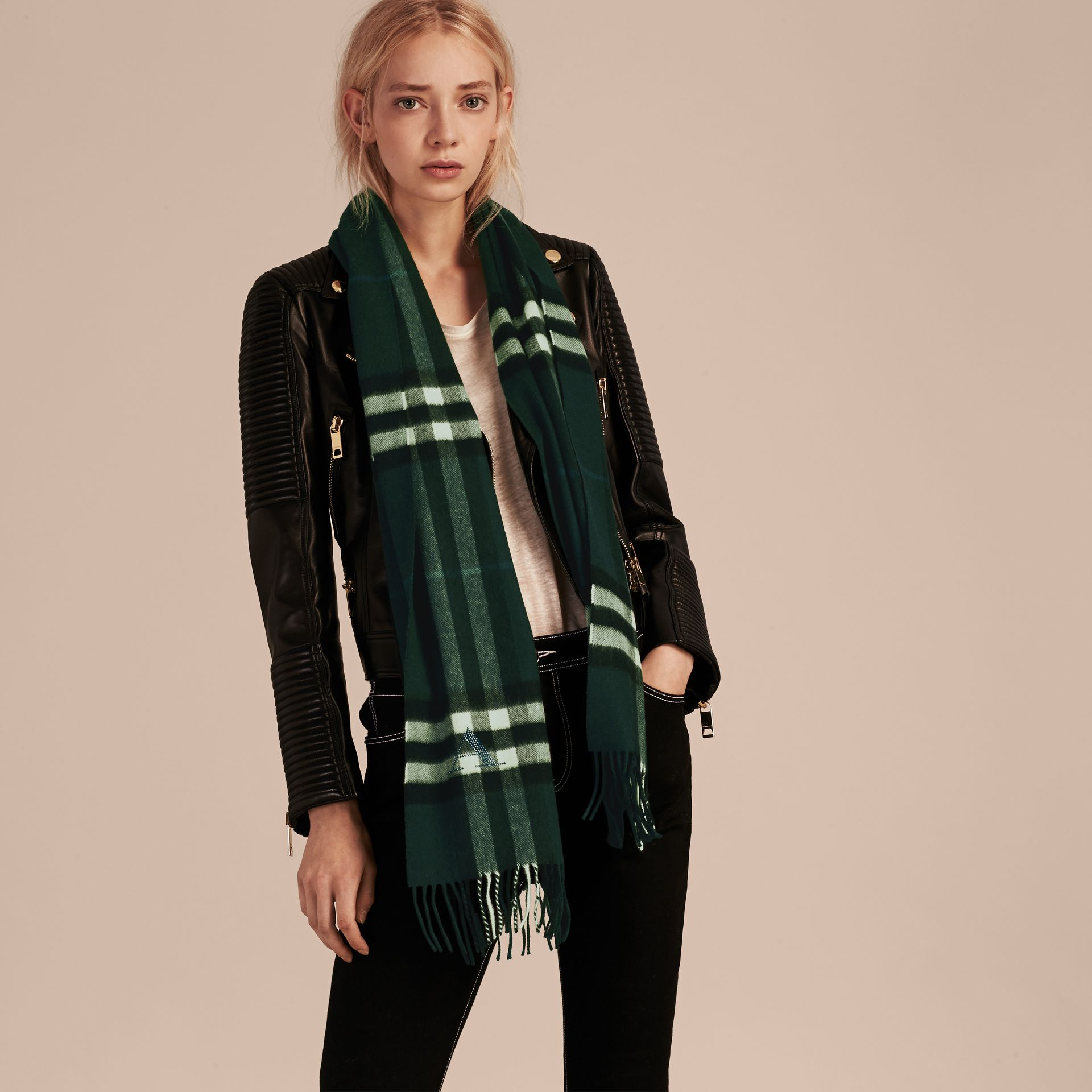 The Classic Cashmere Scarf in Check Dark Forest Green - gallery image 3