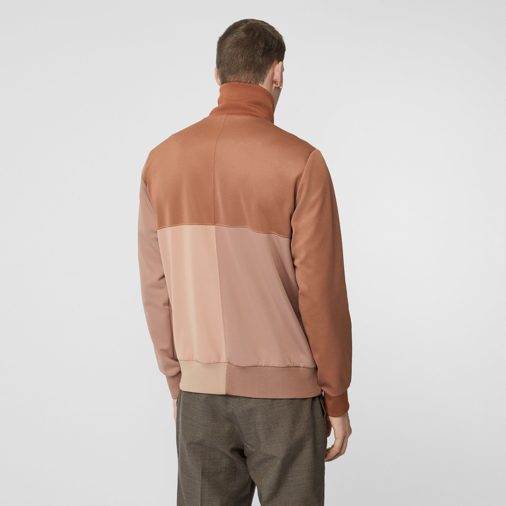 Logo Graphic Colour Block Neoprene Track Top in Camel - Men | Burberry - gallery image 2