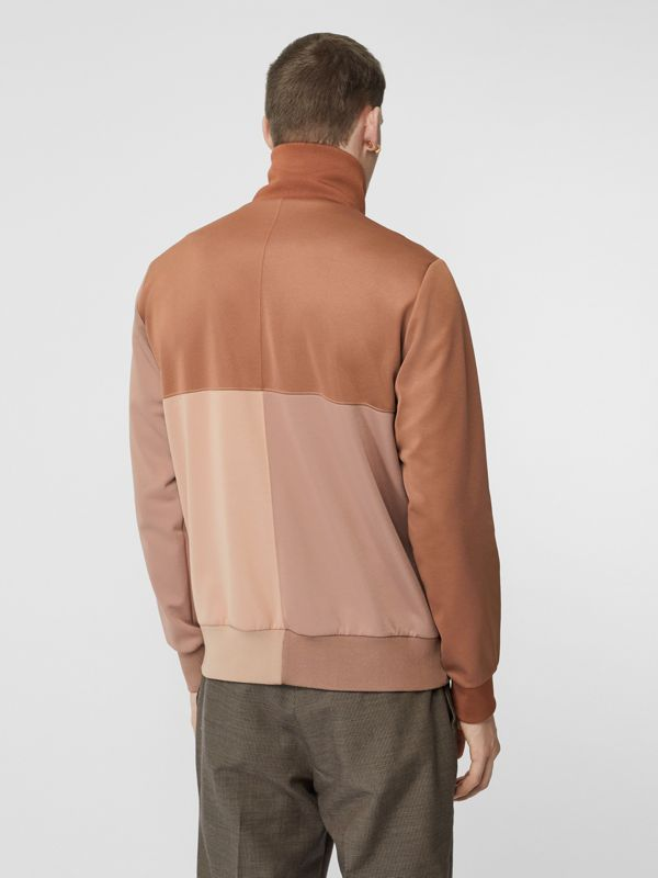 Logo Graphic Colour Block Neoprene Track Top in Camel - Men | Burberry - cell image 2