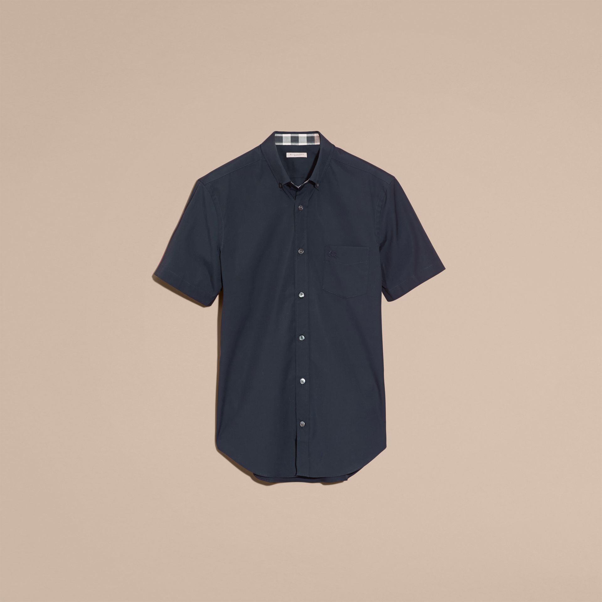 Navy Short-sleeved Stretch Cotton Poplin Shirt - gallery image 4