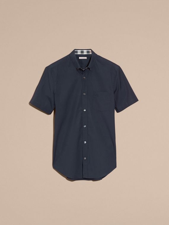 Short-sleeved Stretch Cotton Poplin Shirt in Navy - cell image 3