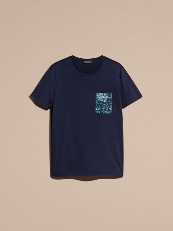 Navy Cotton T-shirt with Peony Rose Print Pocket - cell image 3