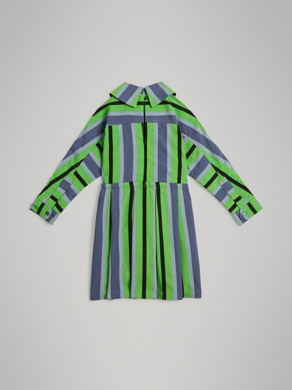 Striped Drawcord Dress in Teal - Girl | Burberry - cell image 3