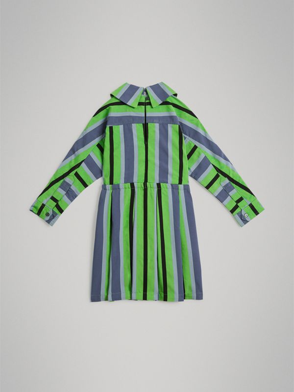 Striped Drawcord Dress in Teal | Burberry - cell image 3