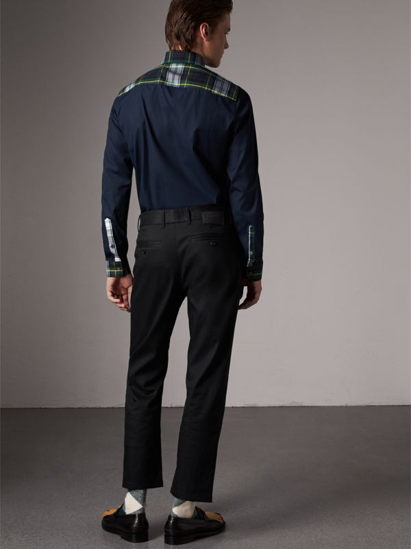 Tartan Cotton Gabardine Detail Cotton Poplin Shirt in Navy - Men | Burberry - cell image 2