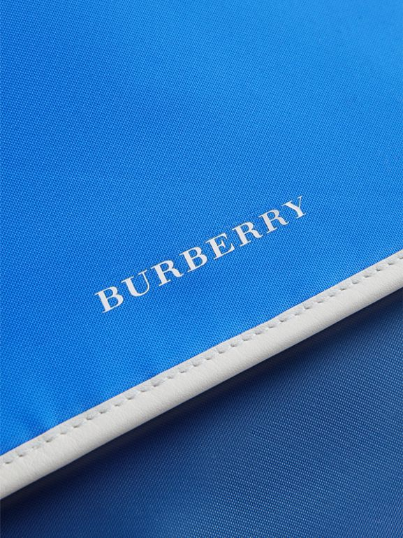 Large Tri-tone Nylon and Leather Messenger Bag in Deep Cerulean Blue - Men | Burberry - cell image 1