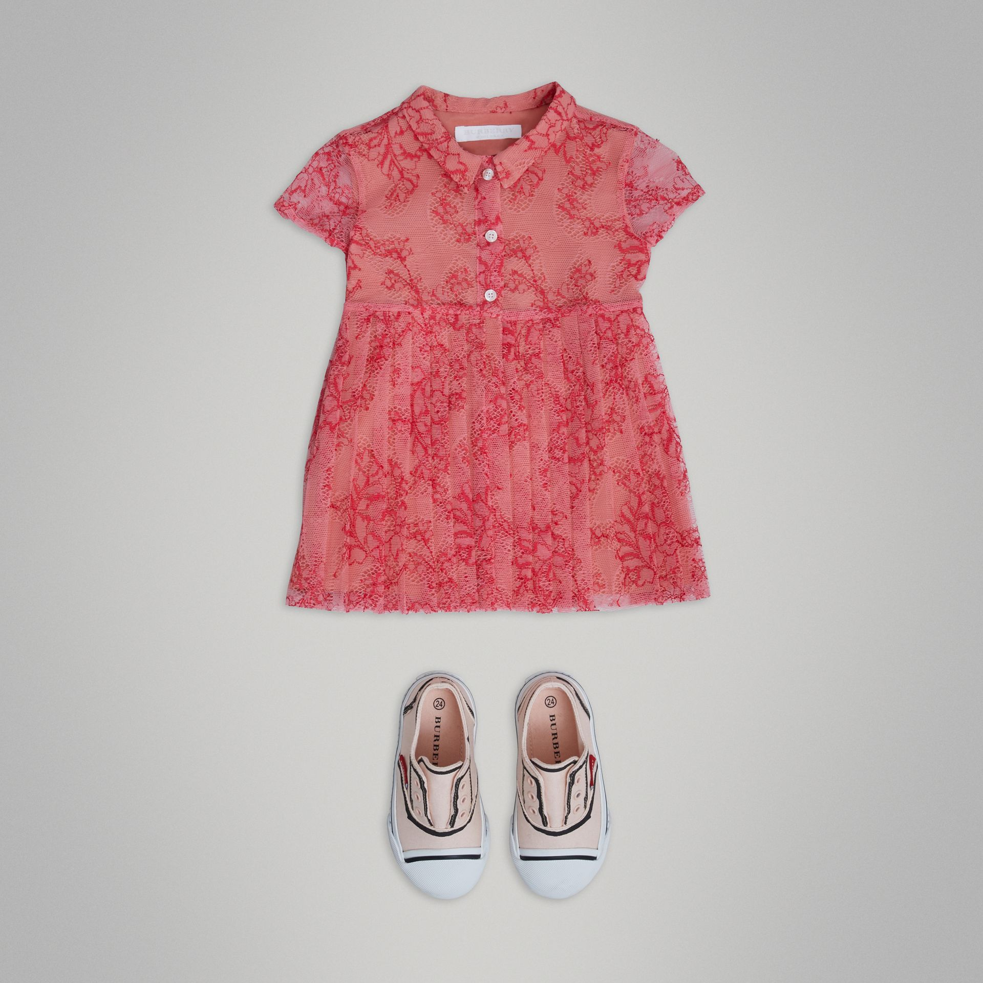 Pleated Lace Dress in Pale Apricot/coral - Children | Burberry - gallery image 2