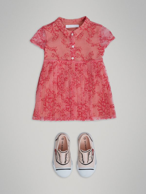 Pleated Lace Dress in Pale Apricot/coral - Children | Burberry - cell image 2