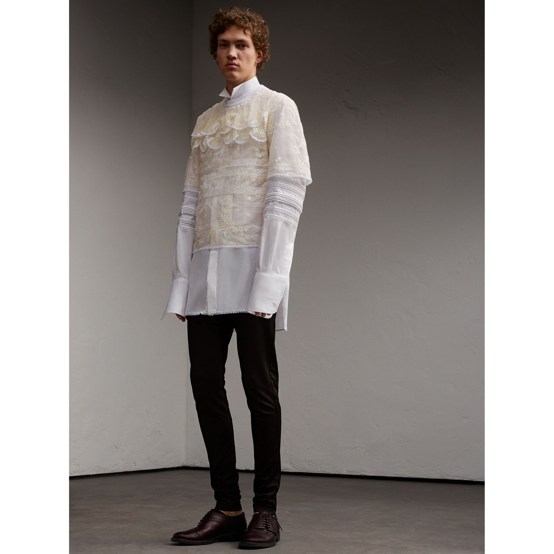 Tiered Soutache Lace T-shirt in White - Men | Burberry - gallery image 6
