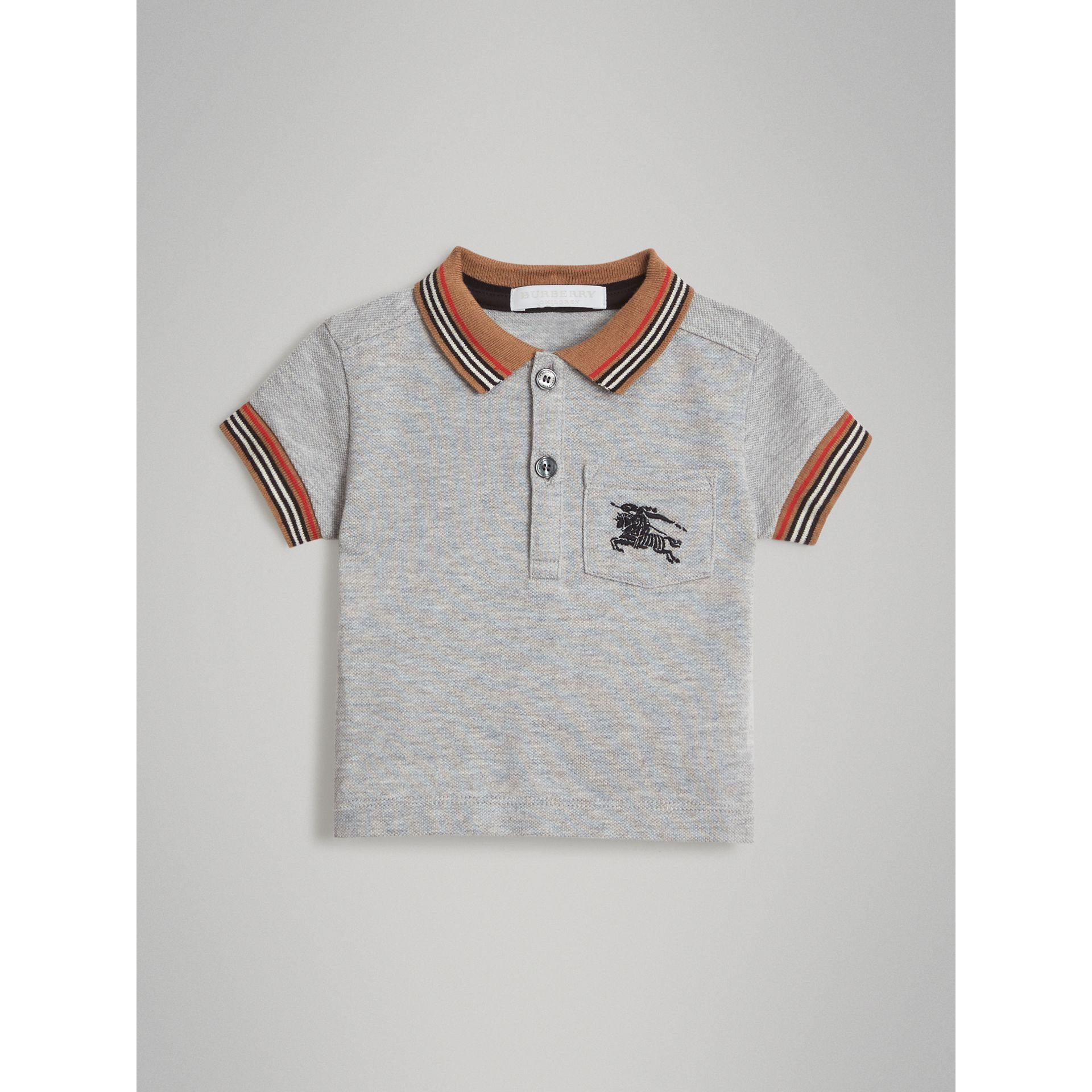 Heritage Stripe Detail Cotton Polo Shirt in Grey Melange - Children | Burberry - gallery image 0