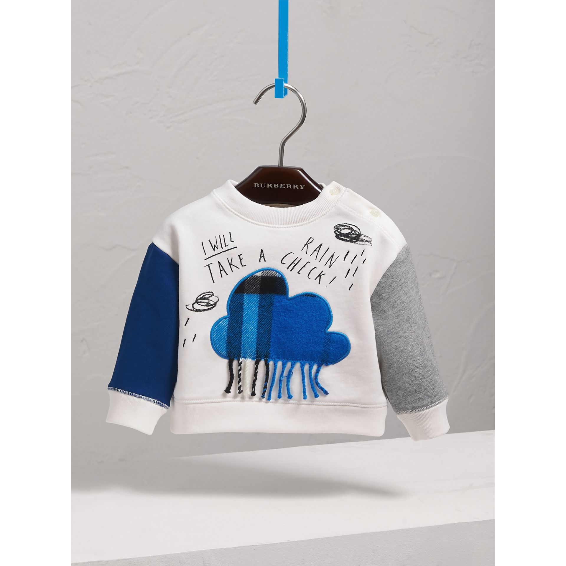 Weather Motif Cotton Sweatshirt in Bright Cornflower Bl | Burberry Hong Kong - gallery image 3
