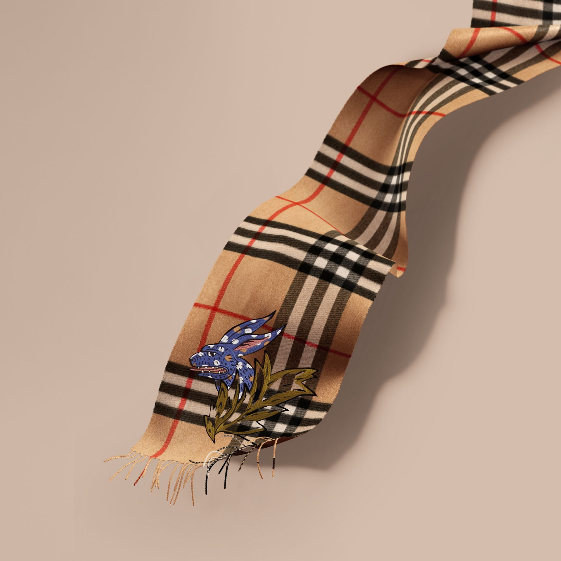 The Classic Cashmere Scarf with Burberry Beasts Motif in Camel | Burberry Australia - gallery image 1