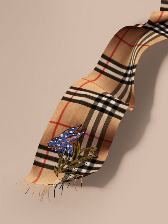 The Classic Cashmere Scarf with Burberry Beasts Motif | Burberry