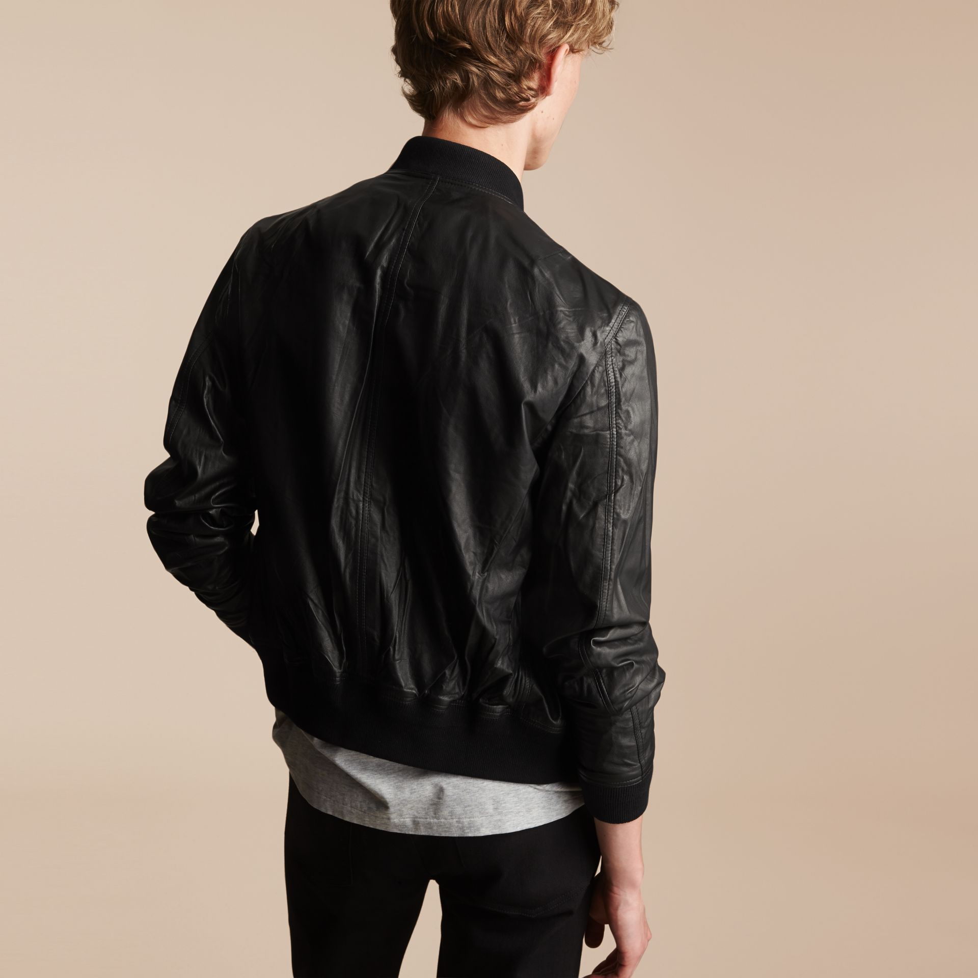 Nappa Leather Bomber Jacket - gallery image 3