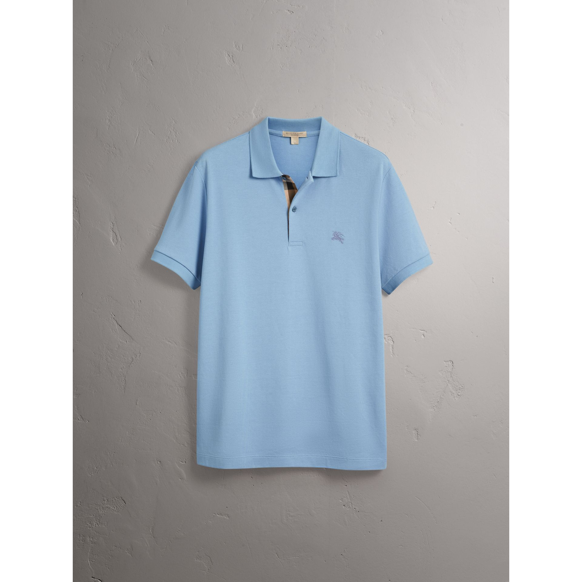 Check Placket Cotton Piqué Polo Shirt in Pale Blue - Men | Burberry United Kingdom - gallery image 3