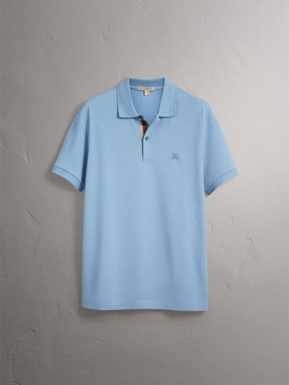 Check Placket Cotton Piqué Polo Shirt in Pale Blue