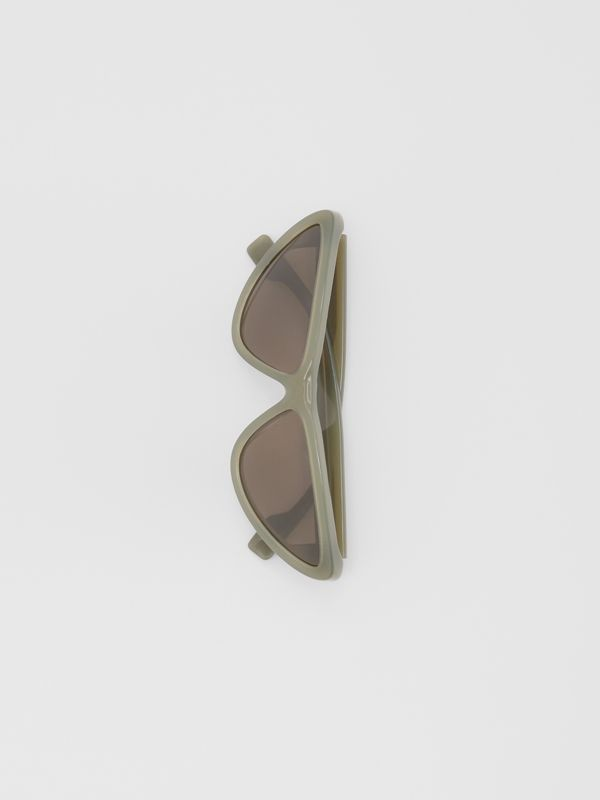 Triangular Frame Sunglasses in Opal Green - Women | Burberry - cell image 3