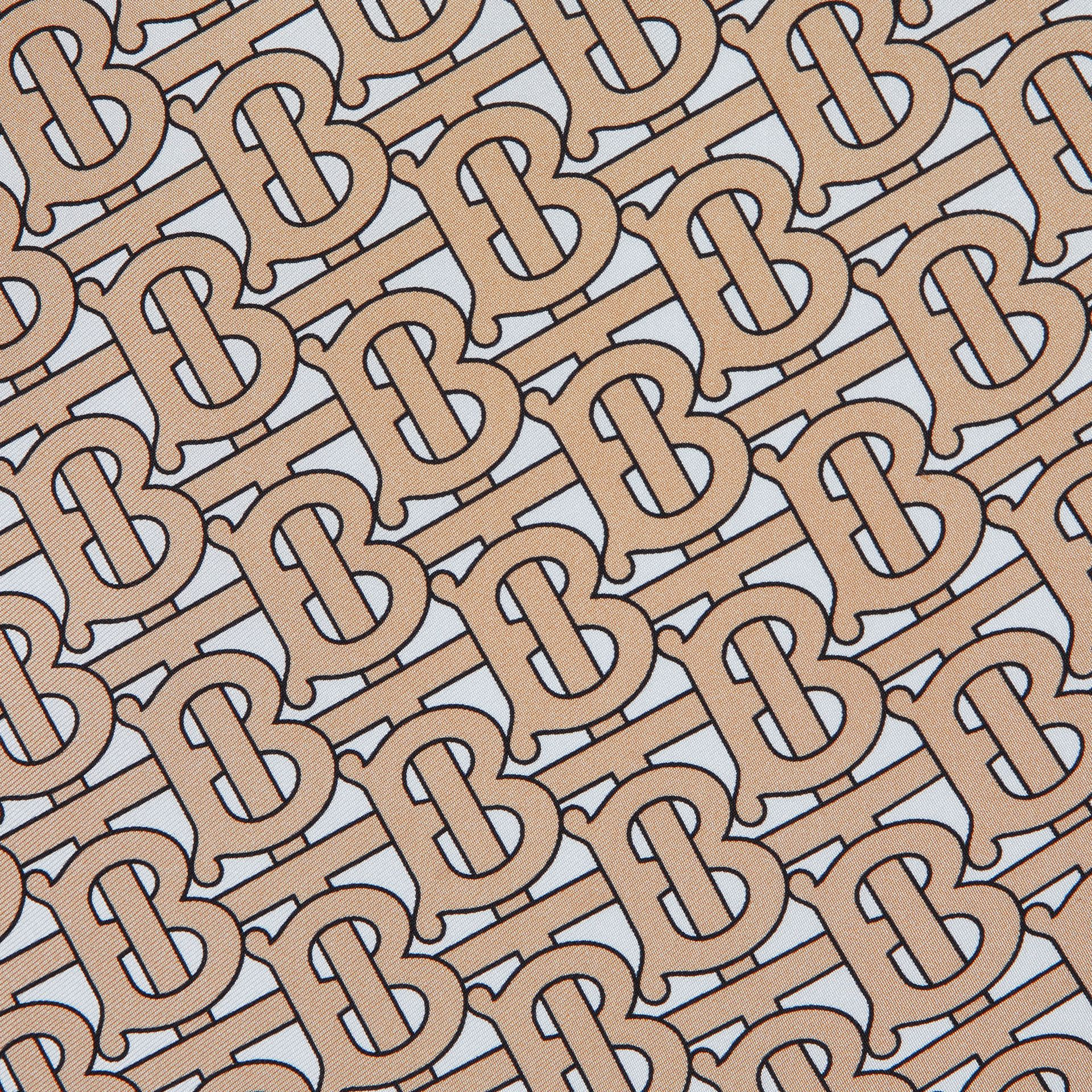 Monogram Print Silk Square Scarf in Camel | Burberry United Kingdom - gallery image 1
