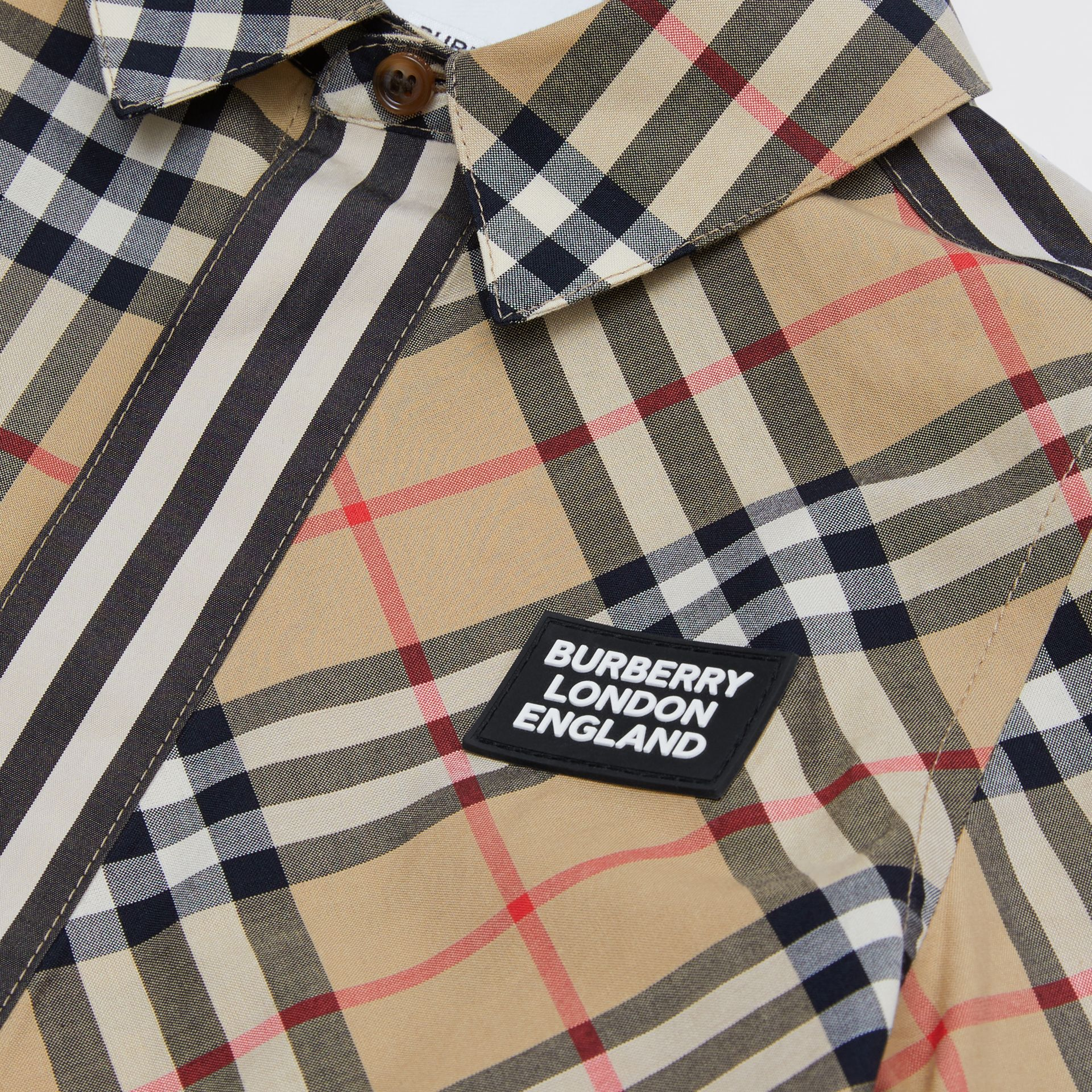 Short-sleeve Vintage Check Patchwork Cotton Shirt in Archive Beige | Burberry United Kingdom - gallery image 1