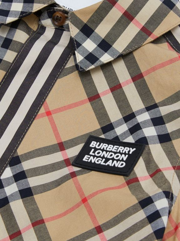 Short-sleeve Vintage Check Patchwork Cotton Shirt in Archive Beige | Burberry United Kingdom - cell image 1