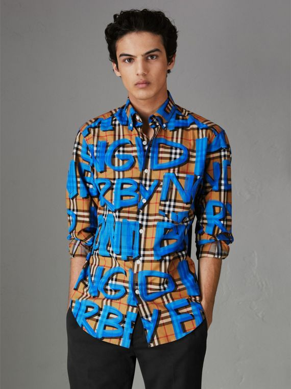 Graffiti Print Vintage Check Shirt in Bright Blue