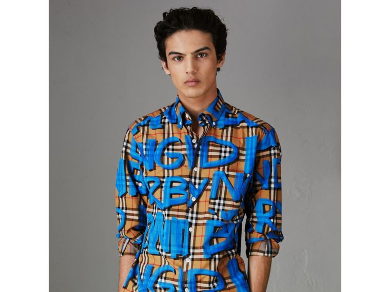 Graffiti Print Vintage Check Shirt in Bright Blue - Men | Burberry - cell image 4