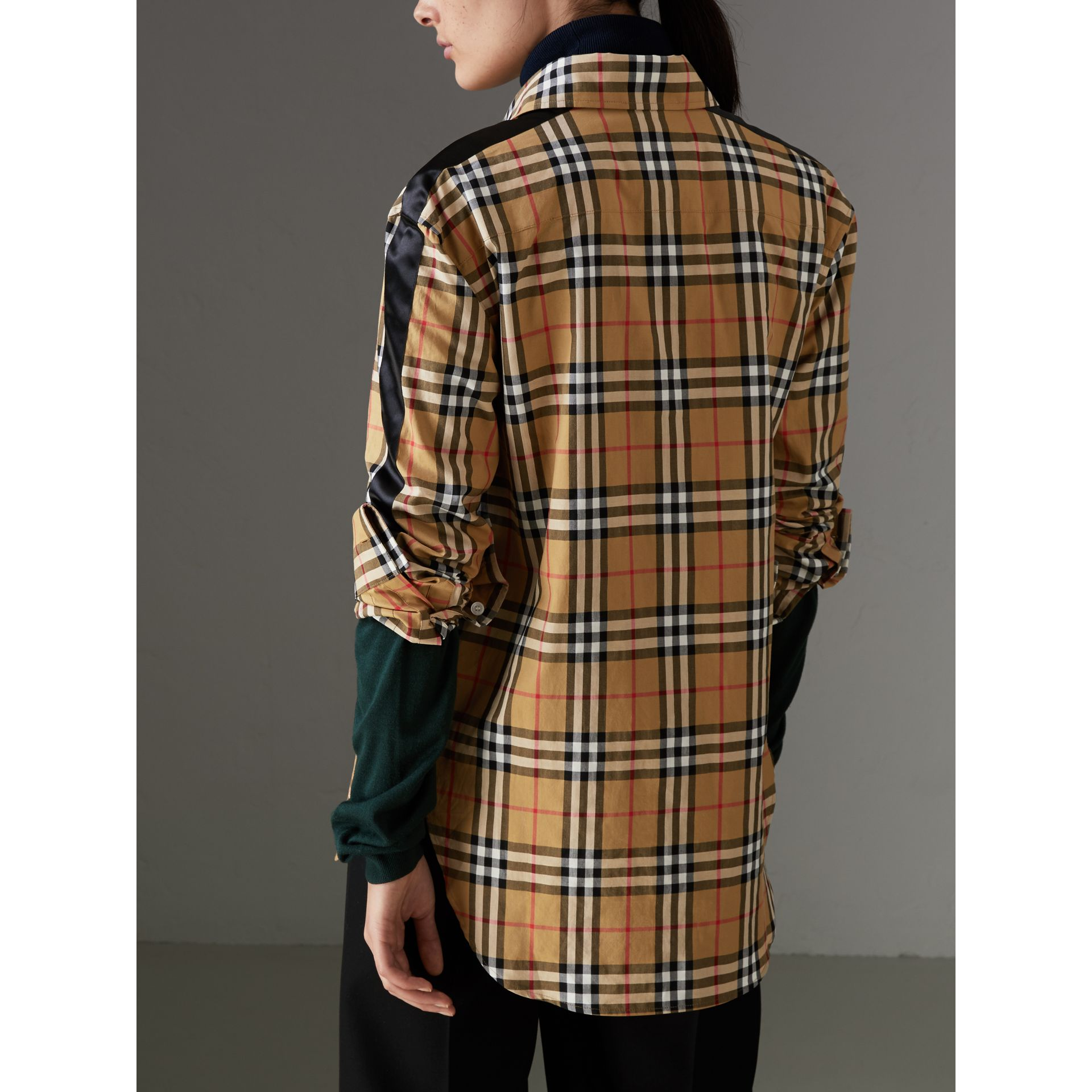 Stripe Detail Vintage Check Cotton Shirt in Antique Yellow - Women | Burberry - gallery image 2