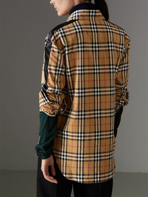 Stripe Detail Vintage Check Cotton Shirt in Antique Yellow - Women | Burberry Canada - cell image 2