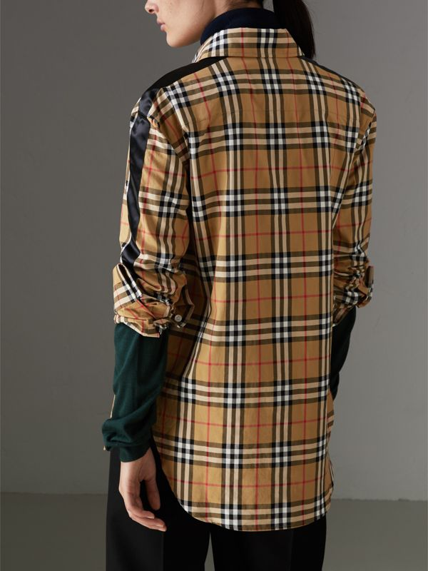 Stripe Detail Vintage Check Cotton Shirt in Antique Yellow - Women | Burberry Singapore - cell image 2
