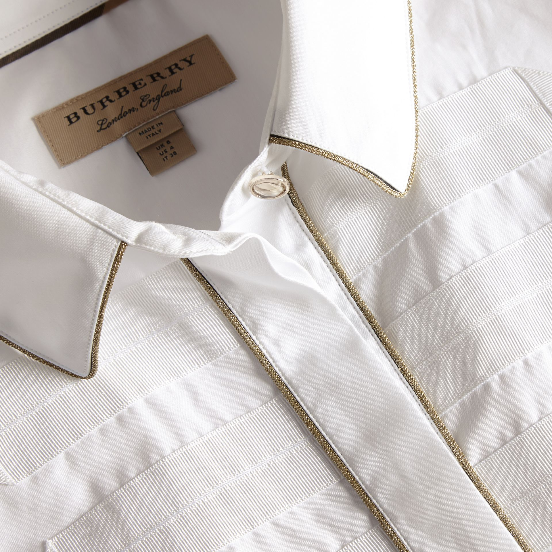 Piped Jacquard Cotton Shirt in White - gallery image 2