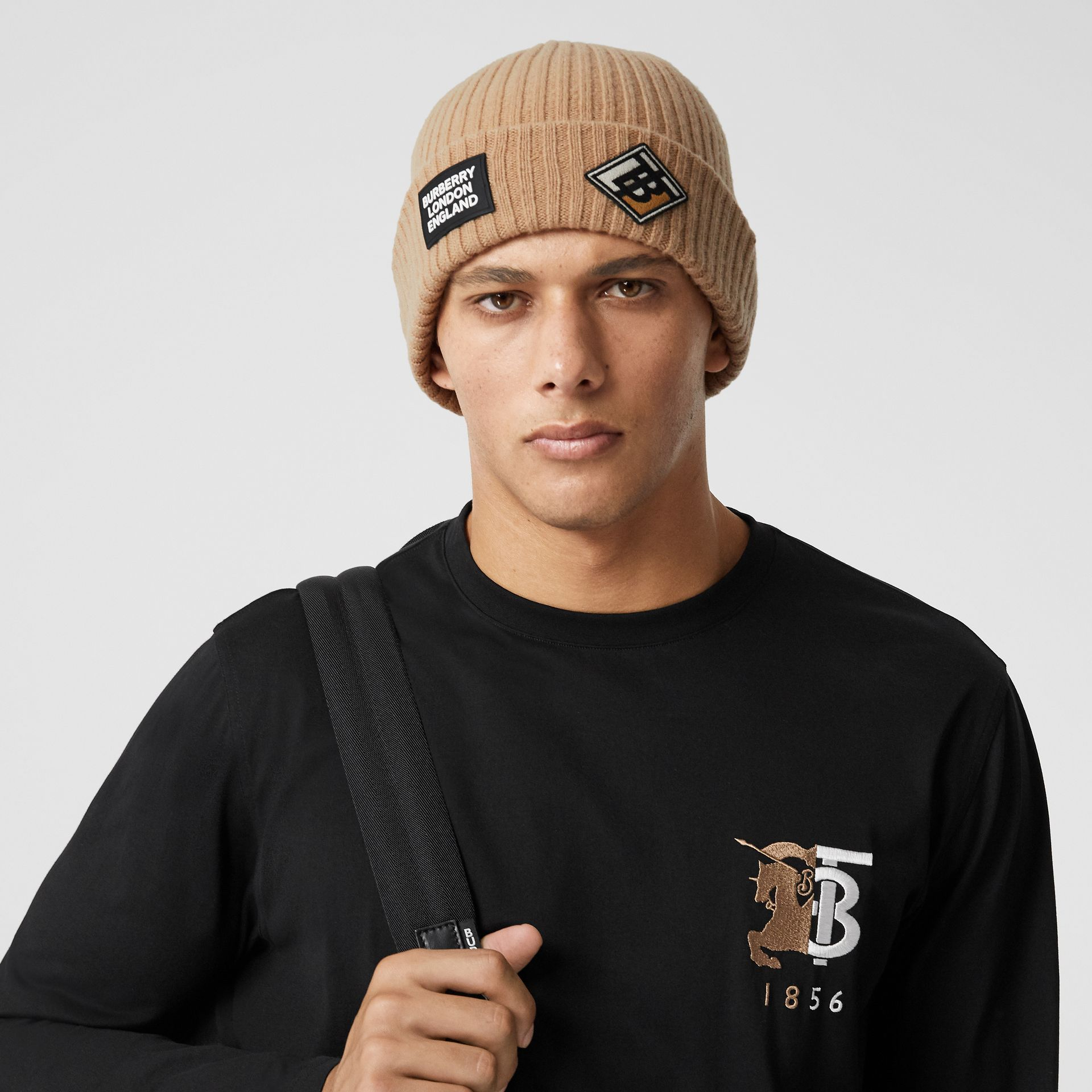 Logo Graphic Rib Knit Wool Beanie in Archive Beige | Burberry - gallery image 3