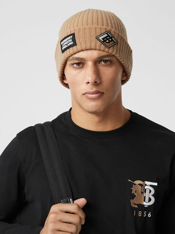 Logo Graphic Rib Knit Wool Beanie in Archive Beige | Burberry United Kingdom - cell image 3