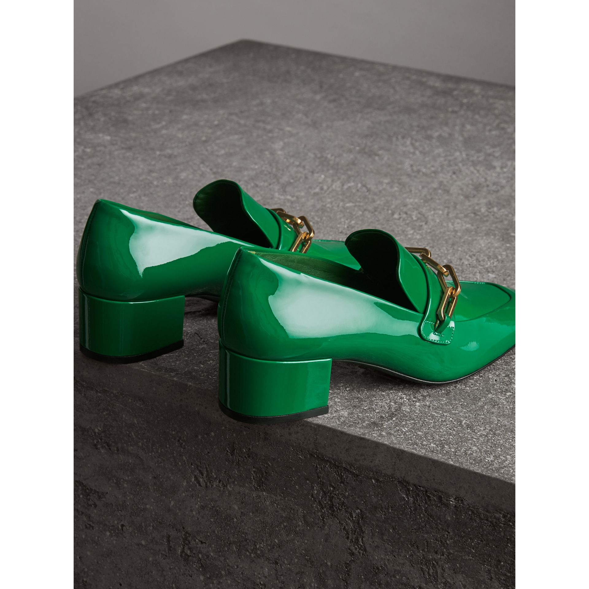 Link Detail Patent Leather Block-heel Loafers in Bright Pigment Green - Women | Burberry - gallery image 3