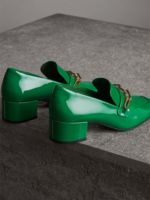 Link Detail Patent Leather Block-heel Loafers in Bright Pigment Green - Women | Burberry - cell image 3