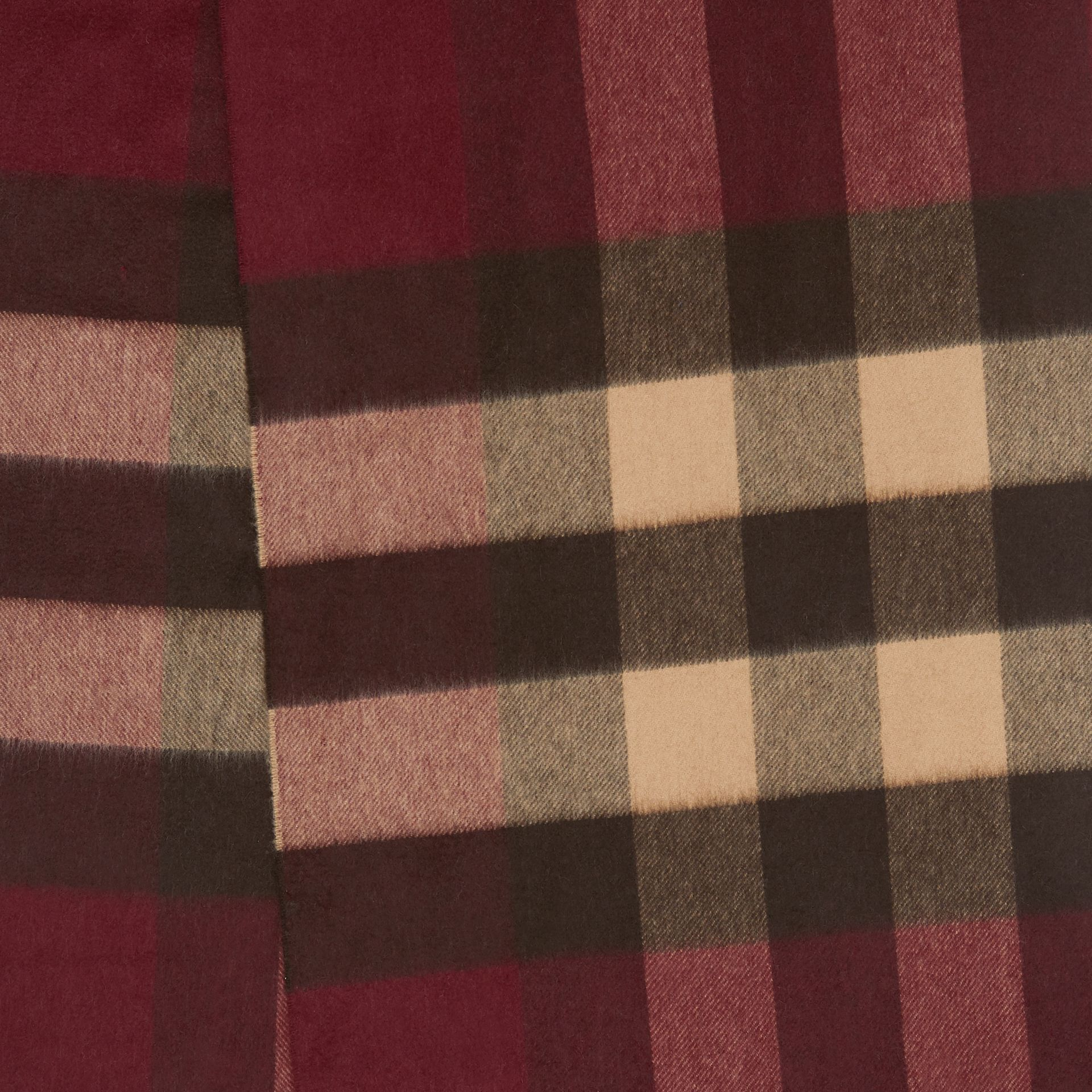 Check Cashmere Scarf in Burgundy | Burberry - gallery image 1