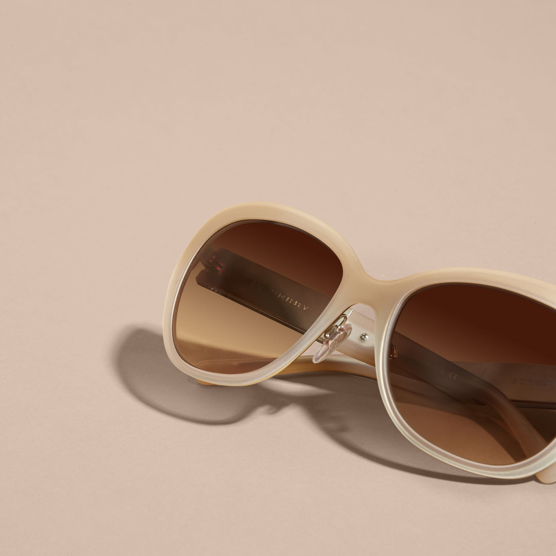 Check Detail Square Cat-eye Sunglasses in Chino Grey - gallery image 5