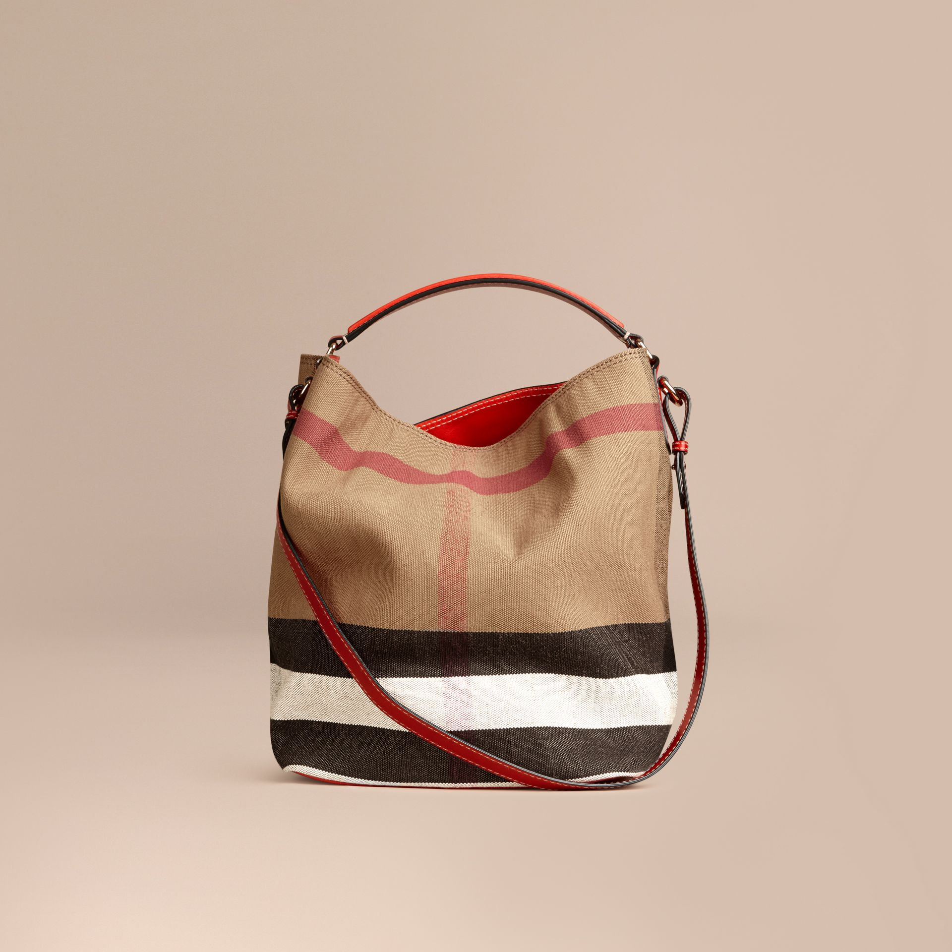 Medium Canvas Check Hobo Bag in Cadmium Red - Women | Burberry - gallery image 7