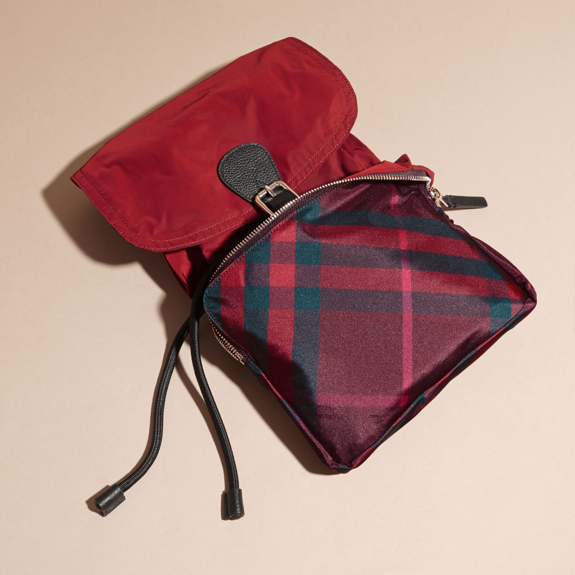 Check Detail Technical Packaway Rucksack Hawthorn Red - gallery image 5
