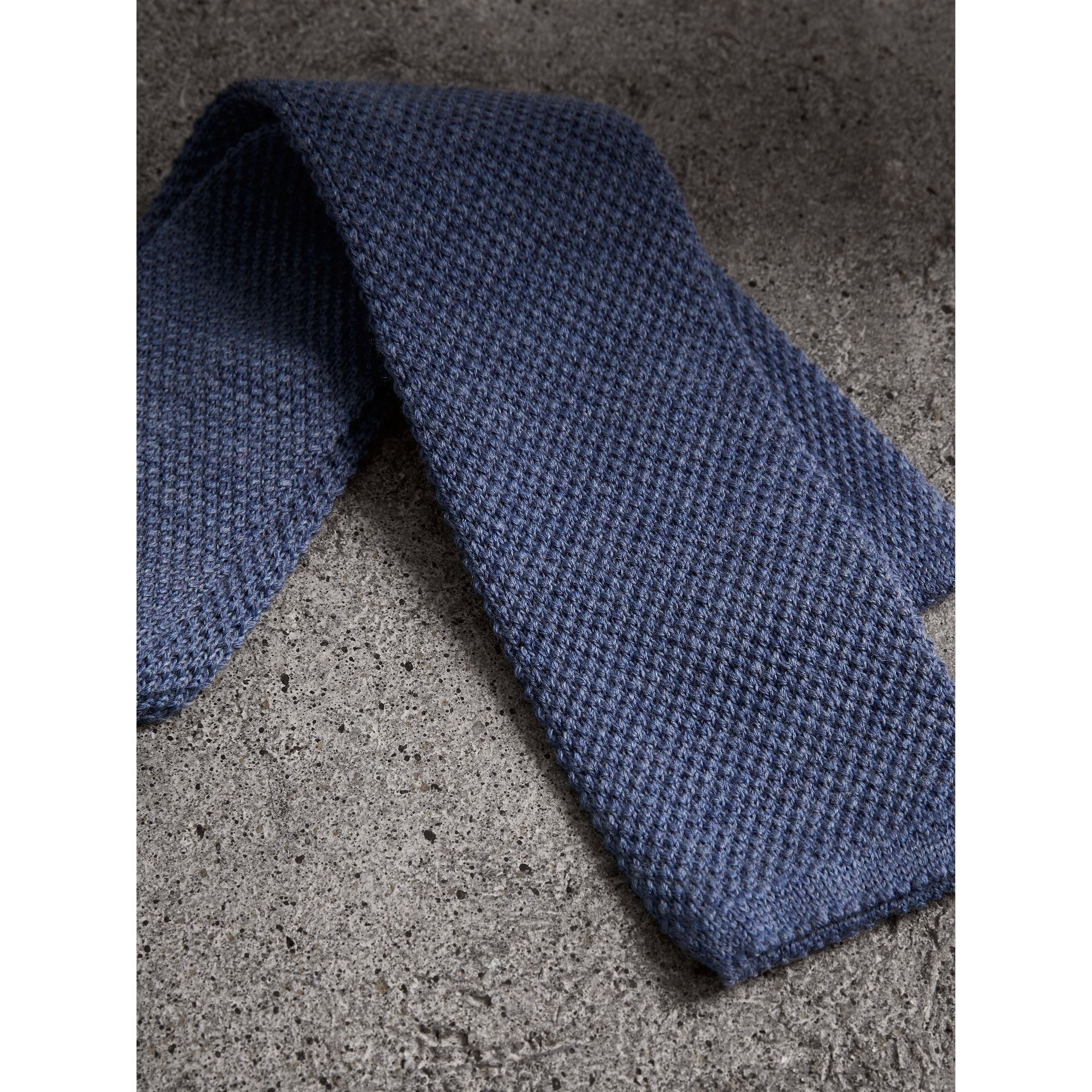Slim Cut Waffle Knit Wool Tie in Lavender Blue - Men | Burberry - gallery image 2