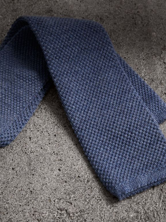 Slim Cut Waffle Knit Wool Tie in Lavender Blue - Men | Burberry - cell image 1