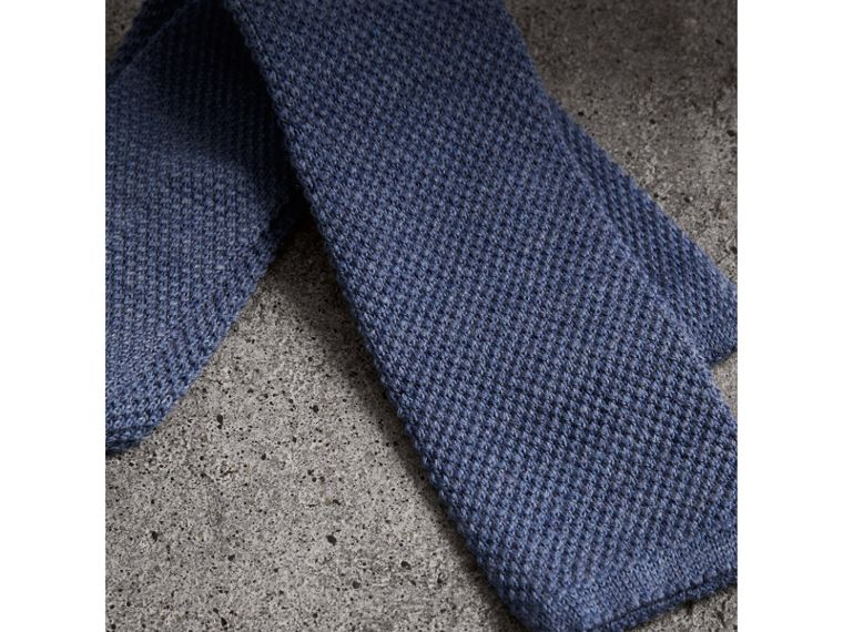 Slim Cut Waffle Knit Wool Tie in Lavender Blue - Men | Burberry United Kingdom - cell image 1