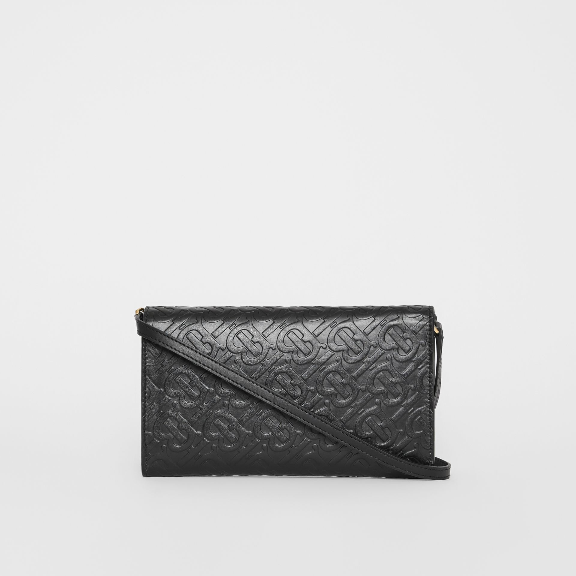 Monogram Leather Wallet with Detachable Strap in Black - Women | Burberry - gallery image 7