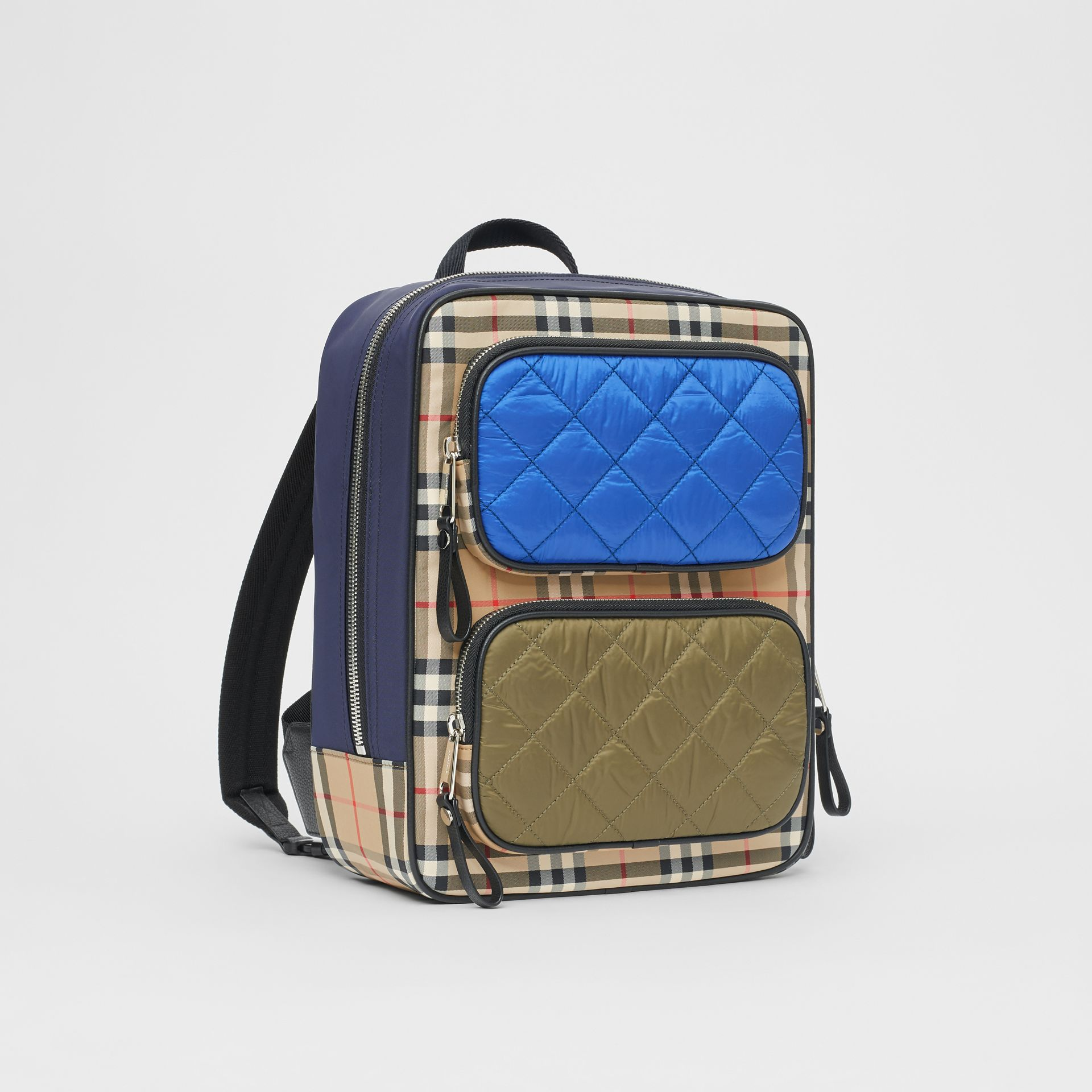 Colour Block Pocket Detail Vintage Check Backpack in Cobalt Blue - Children | Burberry - gallery image 4