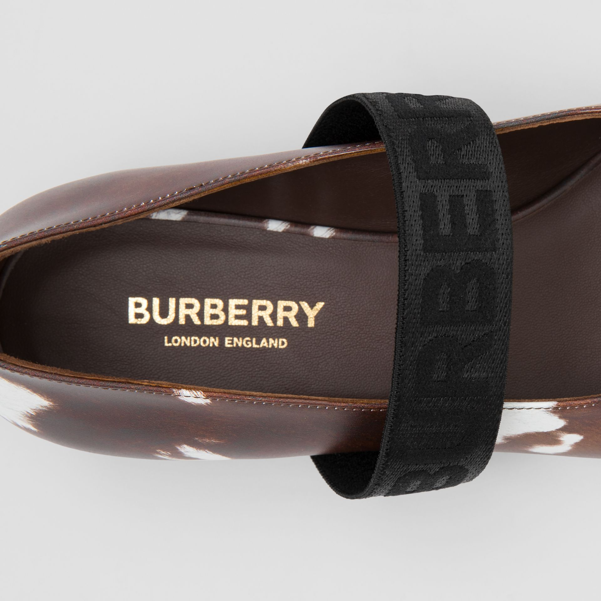 Logo Detail Cow Print Leather Flats - Women | Burberry - gallery image 1