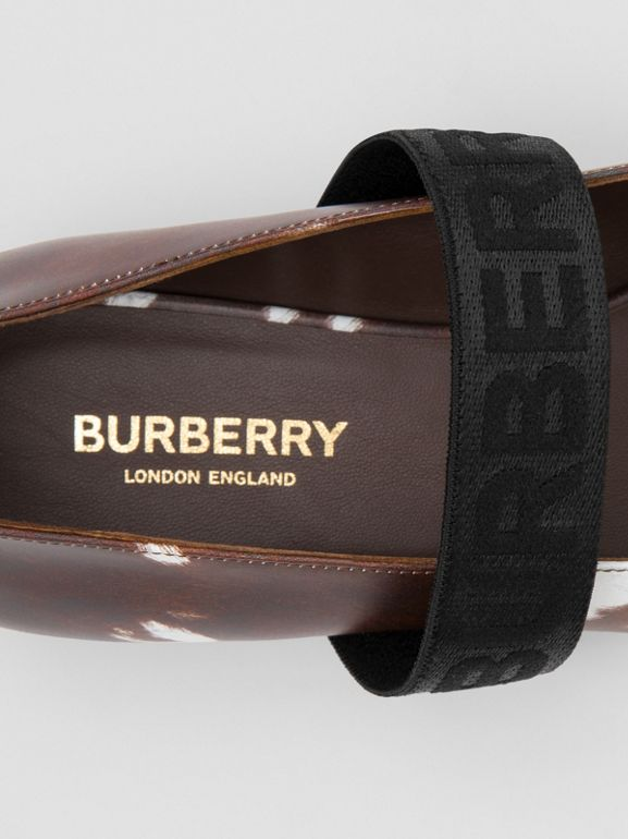 Logo Detail Cow Print Leather Flats - Women | Burberry - cell image 1