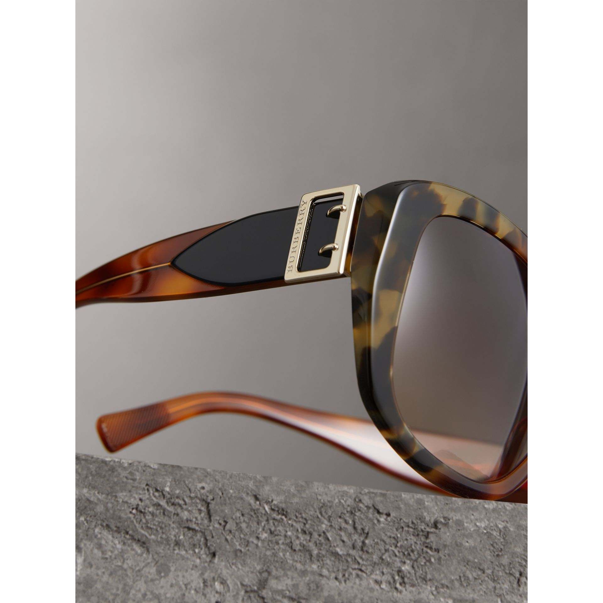 Buckle Detail Oversize Square Frame Sunglasses in Dark Ochre - Women | Burberry United Kingdom - gallery image 1