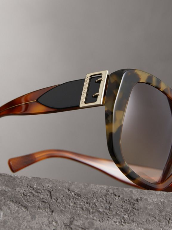 Buckle Detail Oversize Square Frame Sunglasses in Dark Ochre - Women | Burberry United Kingdom - cell image 1
