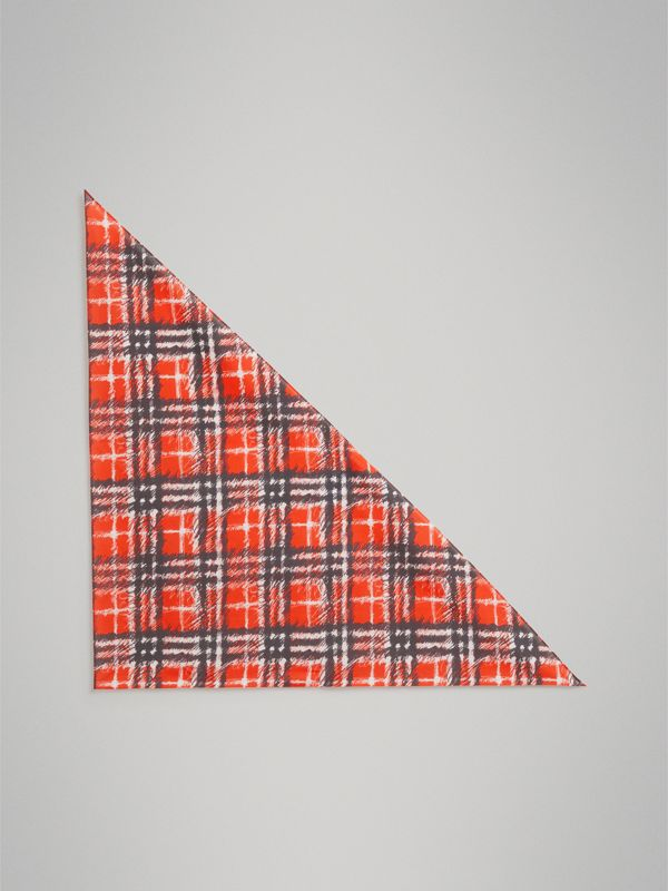 Scribble Check Cotton Scarf in Bright Red | Burberry - cell image 2
