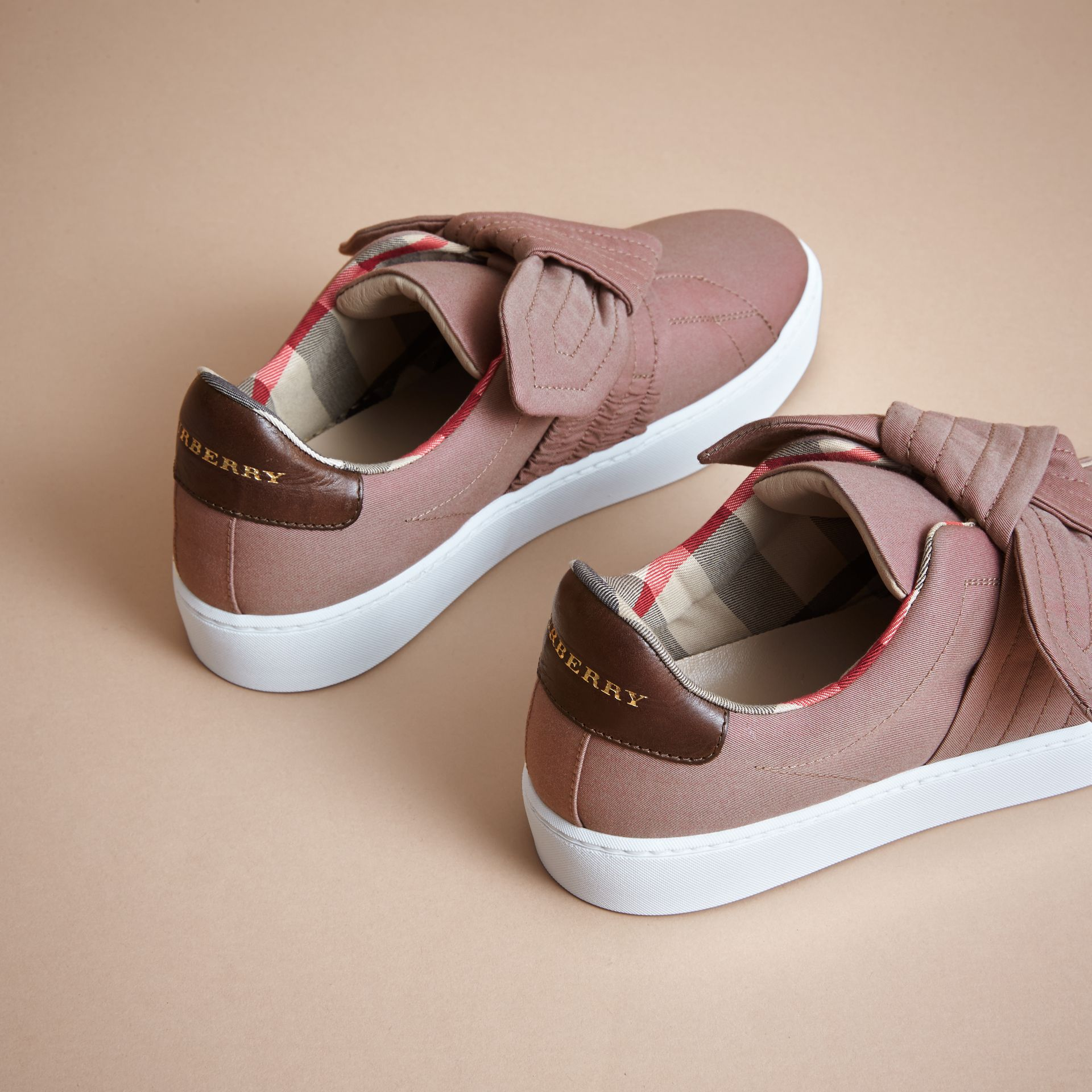 Trench Knot Trainers in Antique Rose - Women | Burberry - gallery image 3