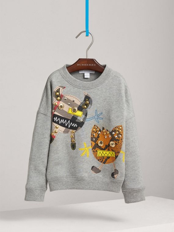 Creature Motif Cotton Sweatshirt in Grey Melange - Girl | Burberry - cell image 2